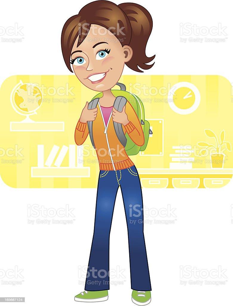 Girl ready for school royalty-free stock vector art