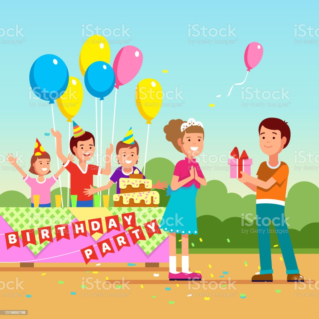 Girl Receiving Birthday Present Gift Teen Kids Party Festivity With Hats Balloons Confetti Flat Isolated Vector