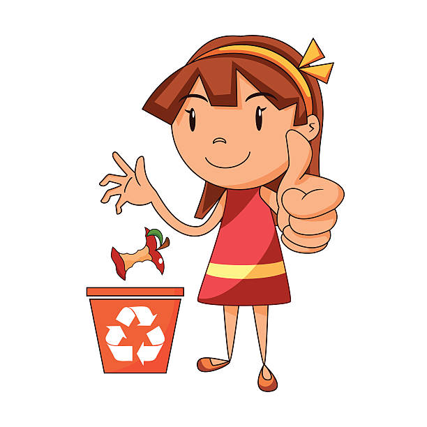 girl recycling organic waste - child throwing garbage stock illustrations, clip art, cartoons, & icons