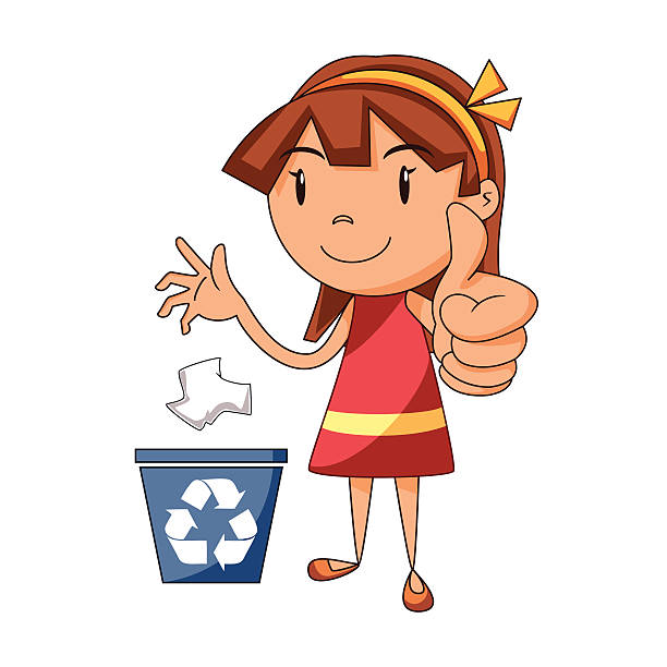 girl recycling paper - child throwing garbage stock illustrations, clip art, cartoons, & icons