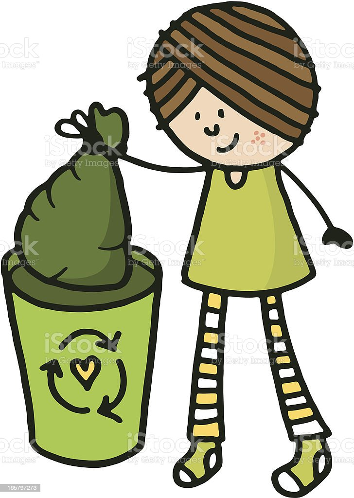 Girl recycling royalty-free stock vector art