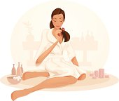 Illustration of a girl brushing her hair in a spa. Woman and background are layered separately.