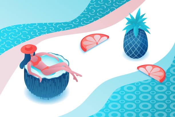 Girl Entspannung in Cartoon Kokosnuss, tropischer Spa-Hintergrund, Sommerparty-Menschen, Frau im Badeanzug, Urlaubskonzept, 3d isometrische Vektorabbildung – Vektorgrafik