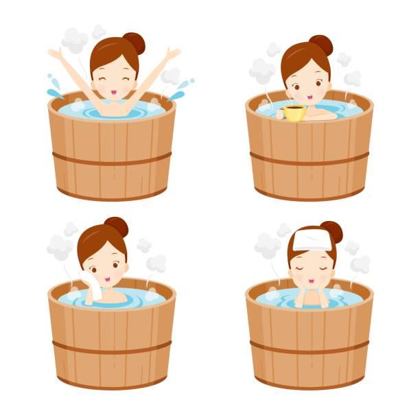 bildbanksillustrationer, clip art samt tecknat material och ikoner med flicka avkopplande i varma våren bad set - japanese bath woman