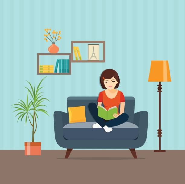 stockillustraties, clipart, cartoons en iconen met meisje ontspannen op stoel lezen boek thuis. vector platte illustratie - woman home magazine