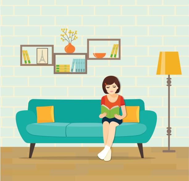 stockillustraties, clipart, cartoons en iconen met meisje ontspannen op de bank lezen boek thuis. vector platte illustratie - woman home magazine