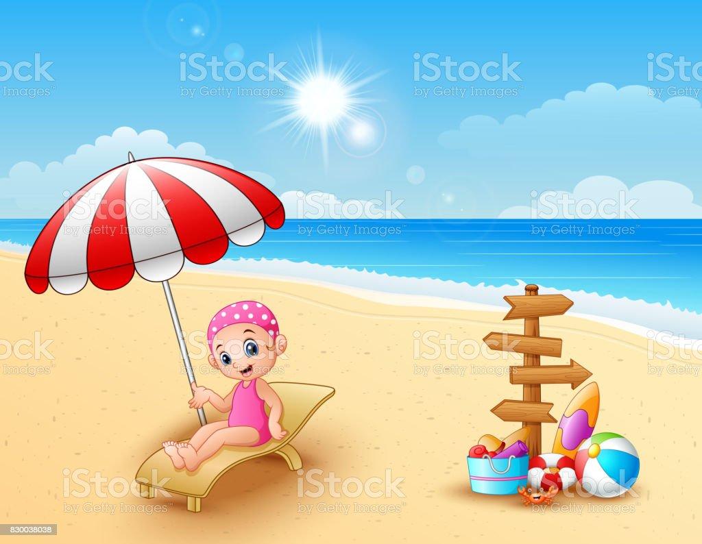 Chica relajada en la silla de playa ilustración de chica relajada en la  silla de playa 97708c3c8623