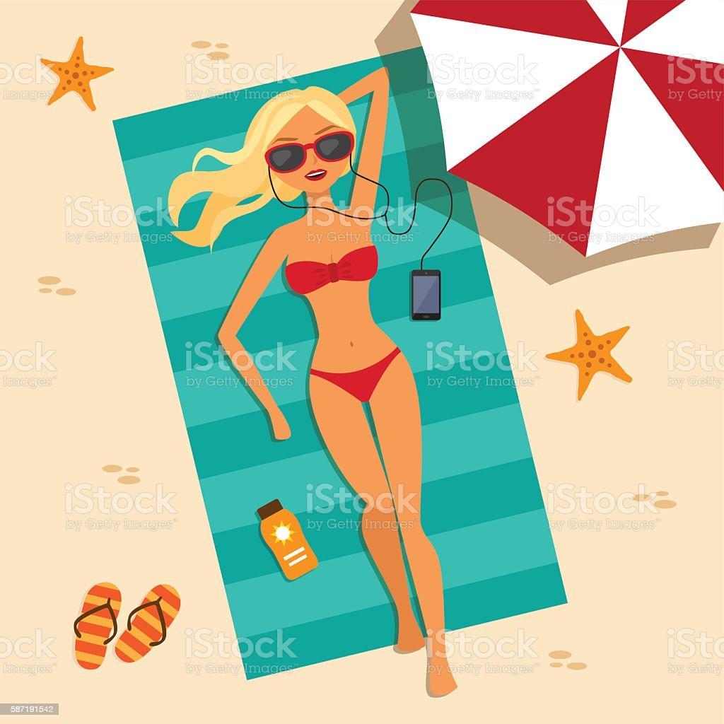 Girl relaxing on the beach vector art illustration