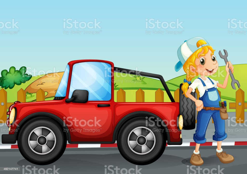 Girl repairing the red jeep royalty-free stock vector art