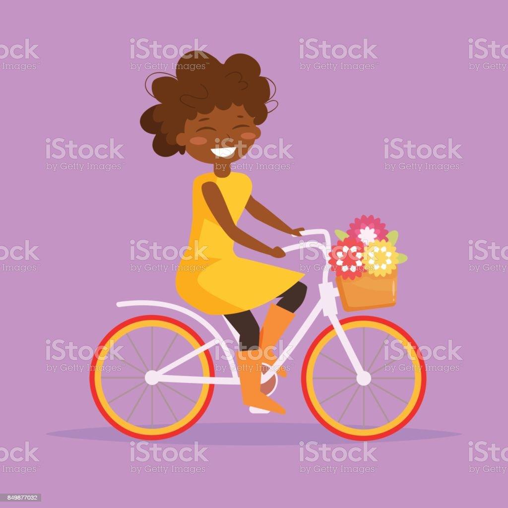 Girl rides a bicycle. Vecto vector art illustration