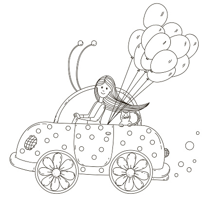 Girl riding a beetle car with cat and balloons. Vector