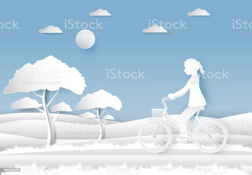 Girl riding a bicycle in the field on blue sky paper art, paper cut style royalty-free girl riding a bicycle in the field on blue sky paper art paper cut style stock vector art & more images of art