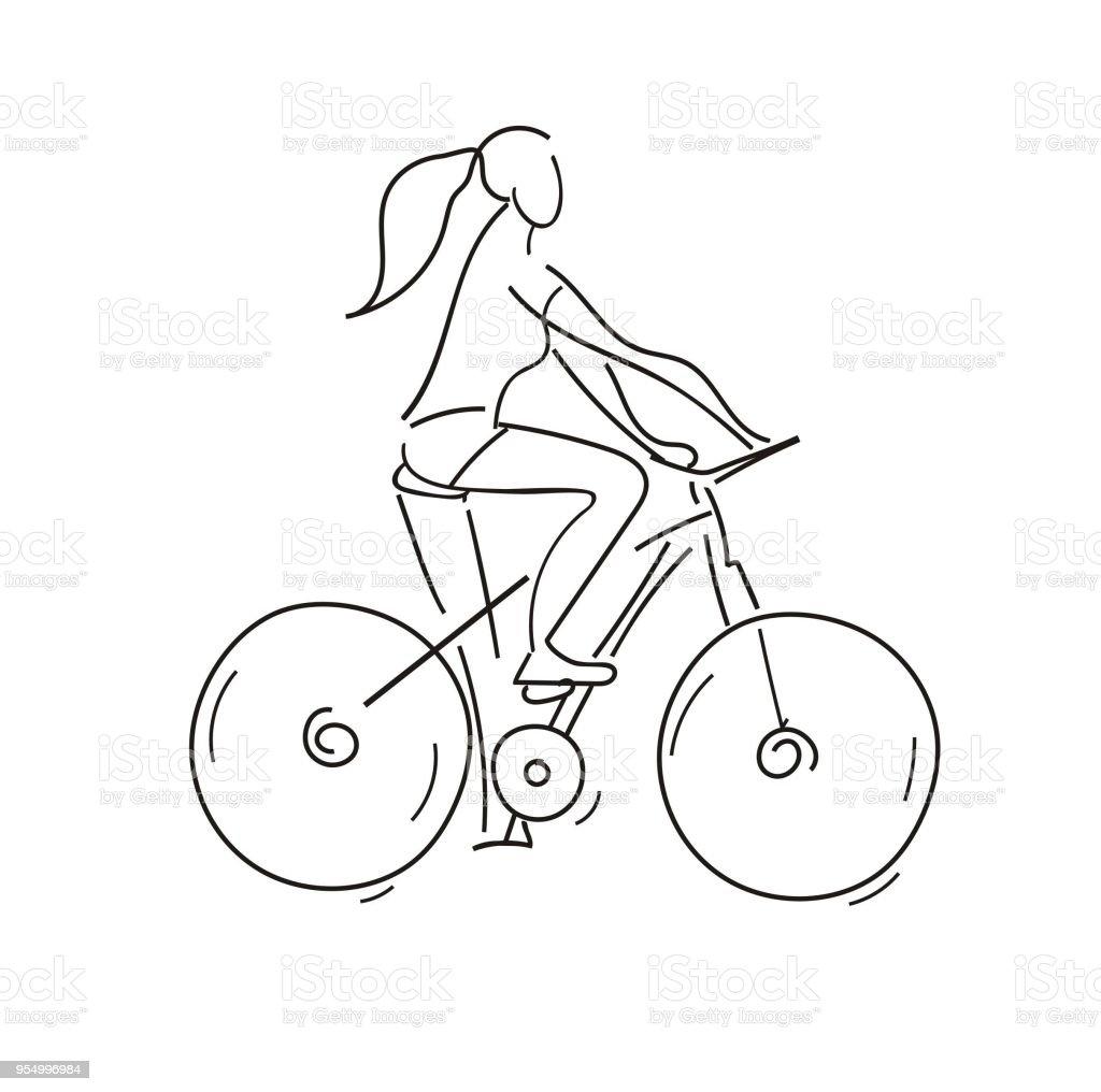 Girl Riding A Bike Cycling Sketch Outline Illustration Line Art Hand