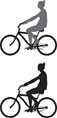Vector silhouettes of a girl riding her bicycle.