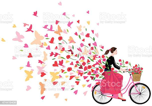 Girl riding bicycle spreading love joy and freedom vector id474419408?b=1&k=6&m=474419408&s=612x612&h=jndzyp40ccty7wnyseynby 7yeuqsgp9ofwfcflelnw=