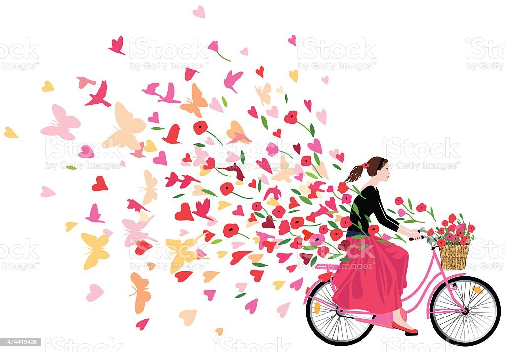 Girl riding bicycle spreading love joy and freedom vector art illustration
