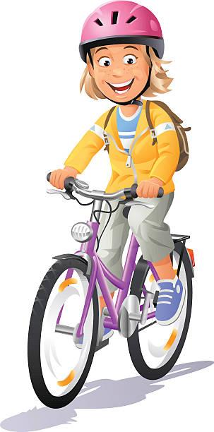 Girl Riding Bike vector art illustration