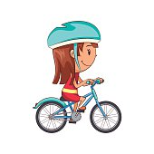Child riding bike, cute kid, female, happy cartoon character, cycling, vector illustration, isolated, white background