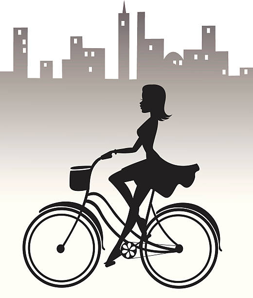 Girl riding cruiser Bike A girl in a dress riding her vintage cruiser bike through the city. The bike, girl, and city are all on different layers. heyheydesigns stock illustrations
