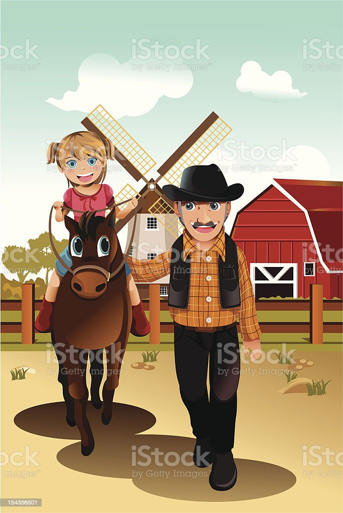 Girl riding horse with grandfather royalty-free stock vector art