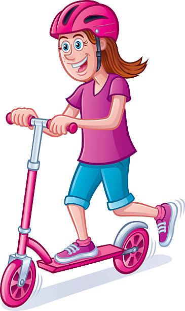 Royalty Free Girl Riding Scooter Clip Art, Vector Images ...