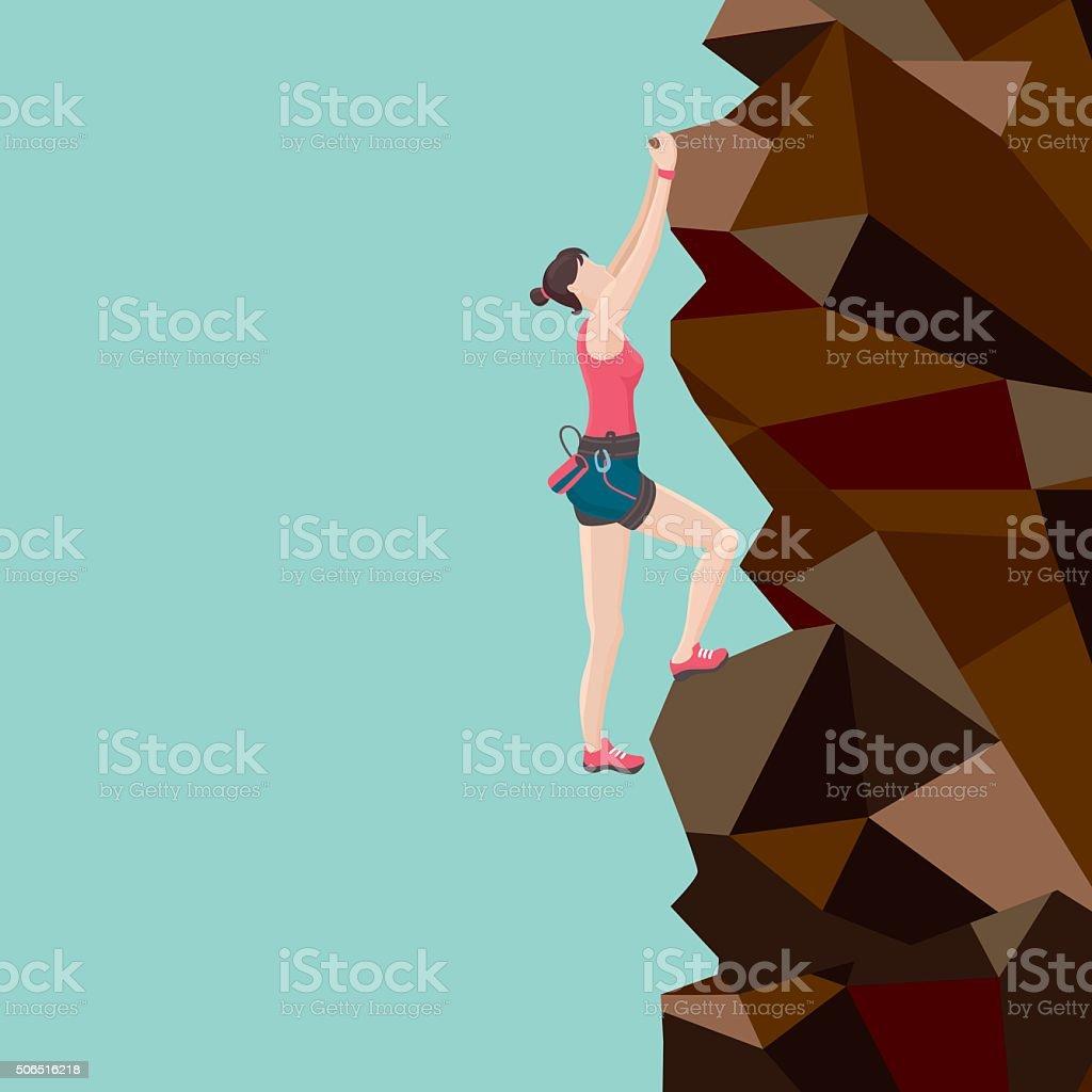 Ragazza rock climber - illustrazione arte vettoriale
