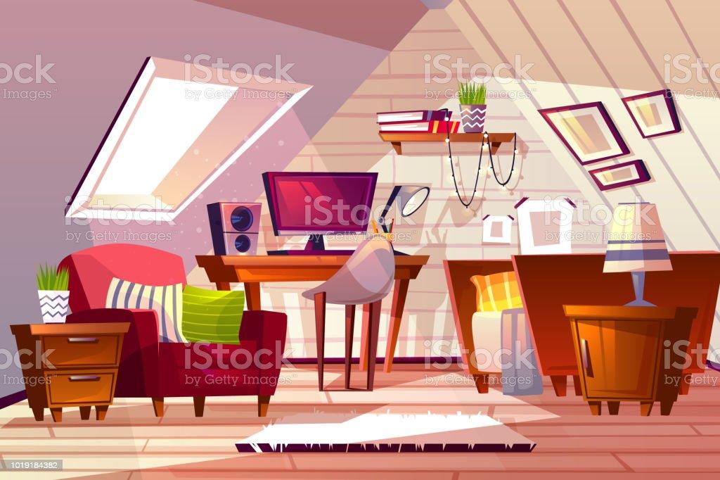 Meisje kamer bij garret zolder vectorillustratie stockvectorkunst en