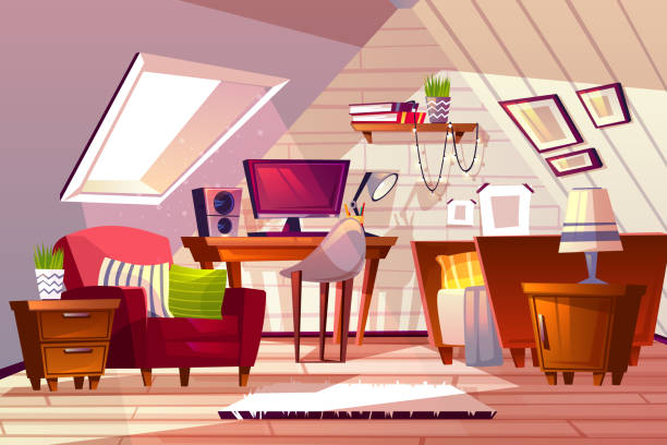 Girl room at garret attic vector illustration Attic room interior vector illustration. Cartoon garret design background of girl bedroom or living room furniture with window in roof, computer on table and chair with bed and bookshelf bedroom backgrounds stock illustrations