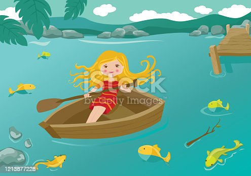 Girl Rowing a Boat at the River