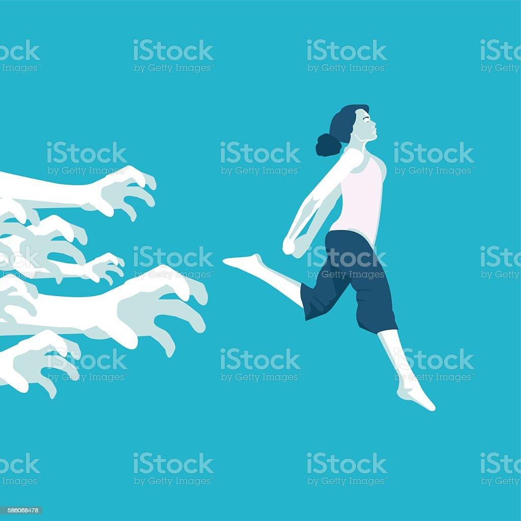 girl running away from problems vector art illustration