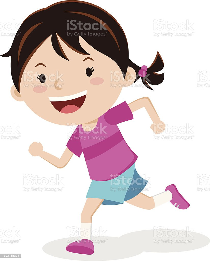 royalty free girl running clip art vector images illustrations rh istockphoto com