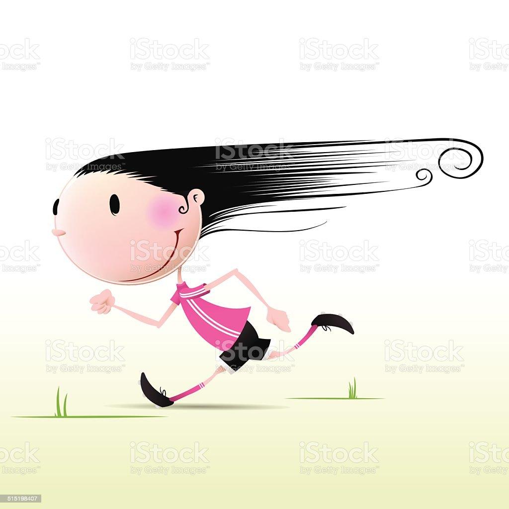 Girl Running vector art illustration