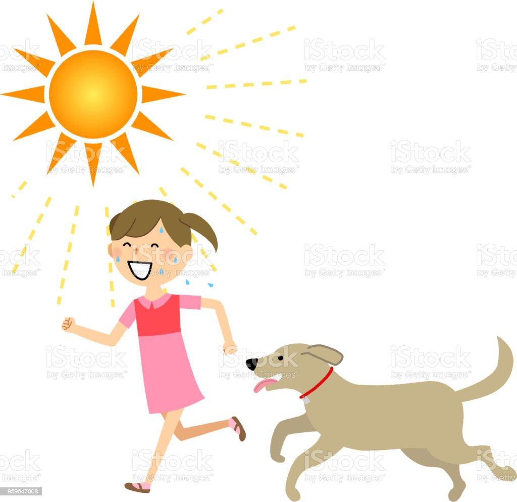 Chica, con un perro - arte vectorial de Adolescente libre de derechos