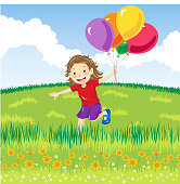Little girl running happily on a grassy hill with bunch of colorful air balloons