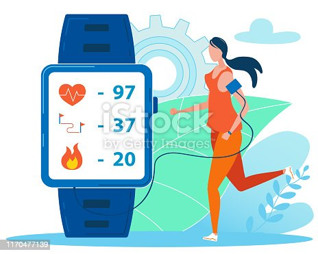 Girl Running with Fitness Bracelet or Tracker Flat Cartoon Vector Illustration. Sports Accessories, Wristband with Run Activity Steps Counter, and Heartbeat Pulse Meter.