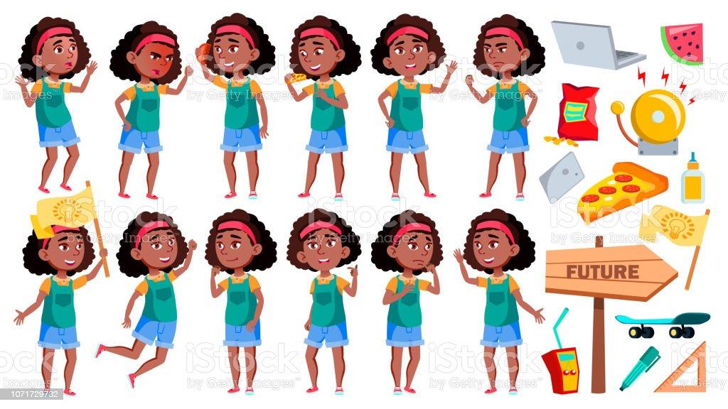 Jeune Fille écolière Pose Set Vector Noir Afro Américain