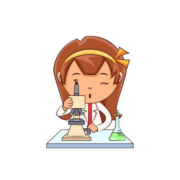 stockillustraties, clipart, cartoons en iconen met de wetenschapper die van het meisje microscoop, leuk kind gebruikt - alleen één meisje