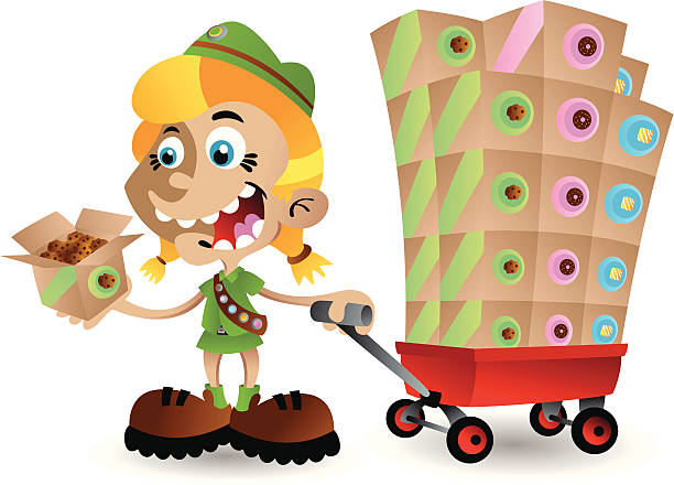 Girl Scout Cookie Time vector art illustration