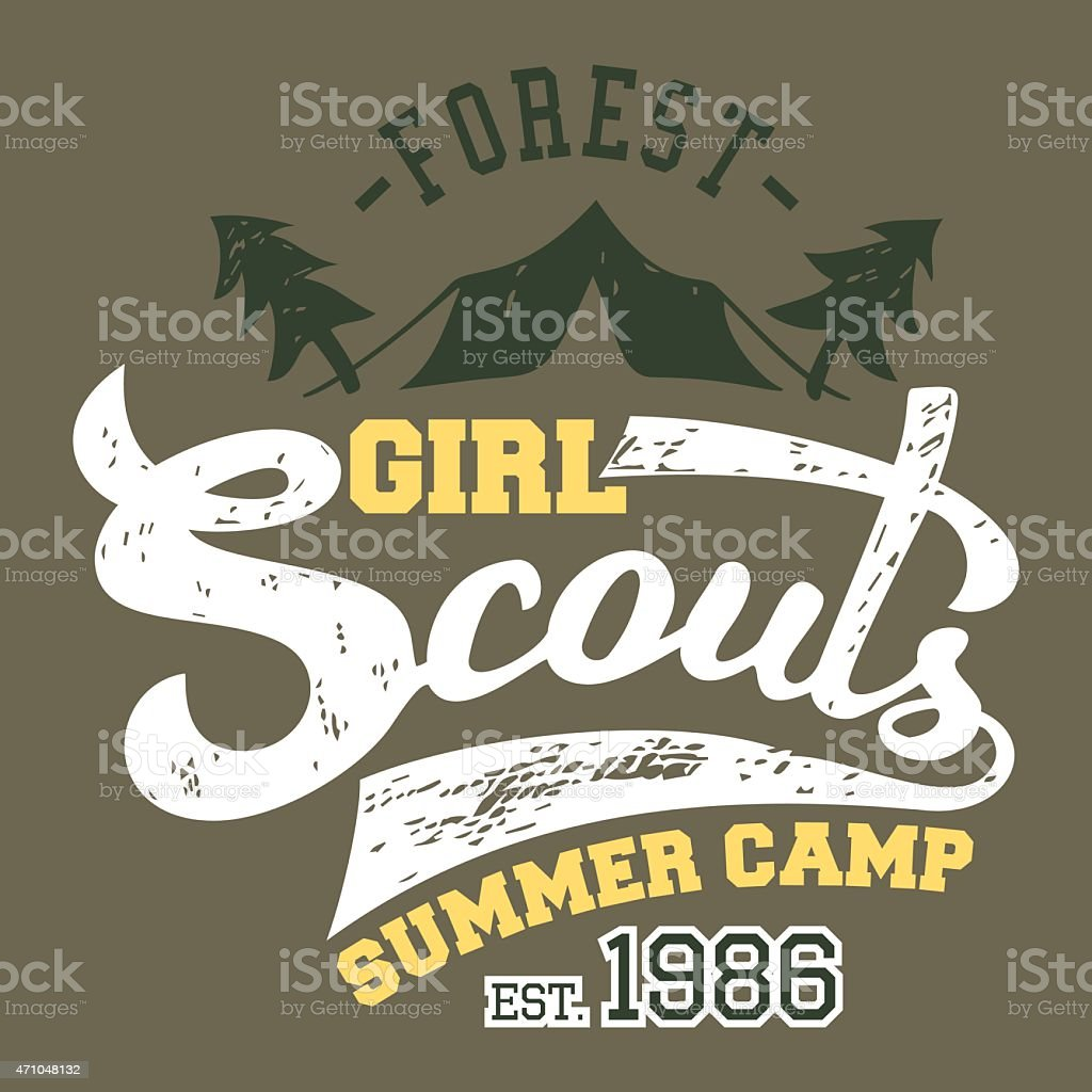 Girl Scouts summer camp, t-shirt and label typographic design