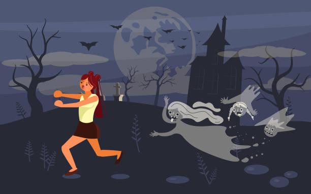 stockillustraties, clipart, cartoons en iconen met meisje schreeuwen in horror en weglopen van de zombie - funeral crying