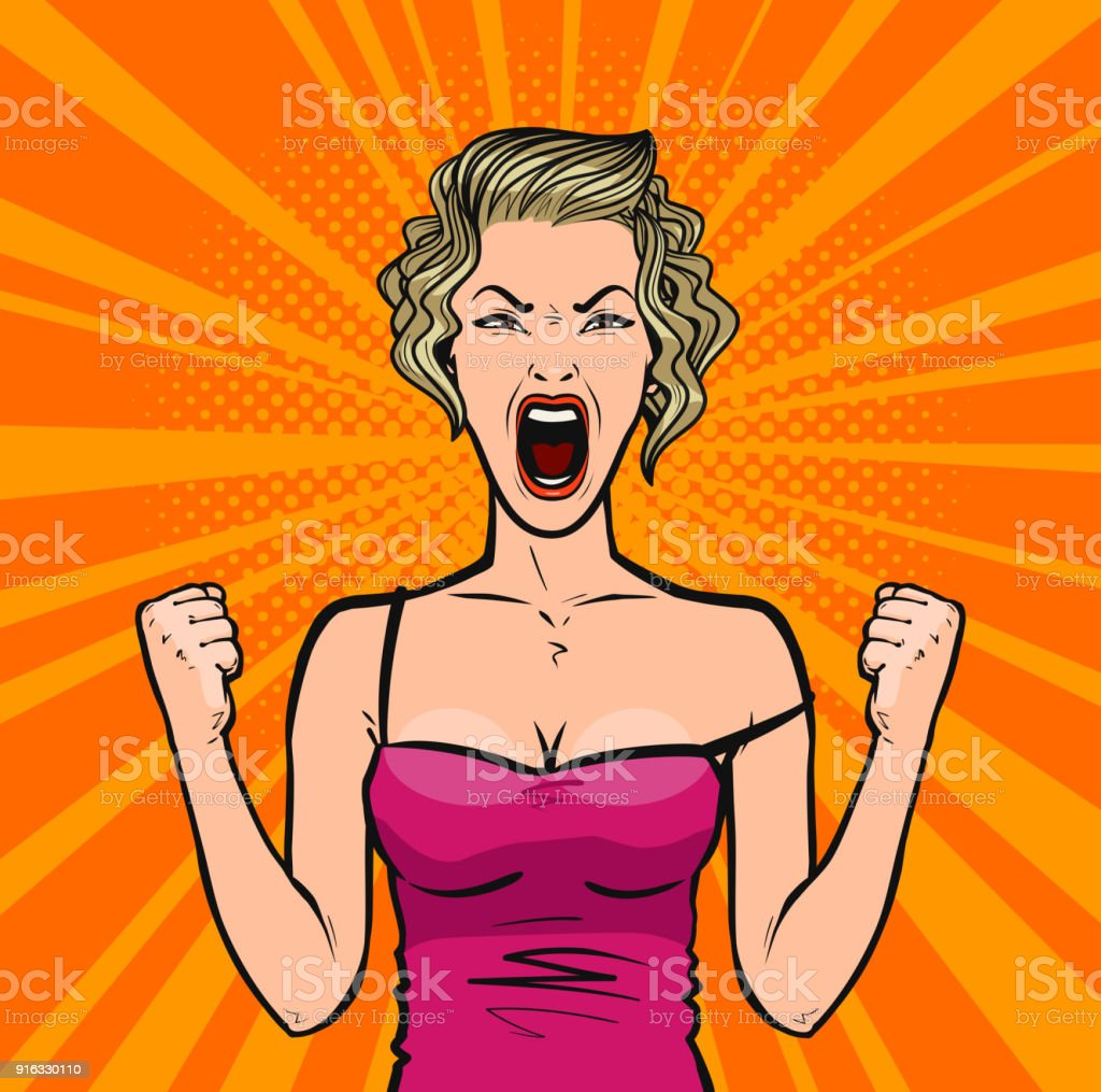 Girl screams loudly or young woman in rage. Pop art retro comic style. Cartoon vector illustration vector art illustration