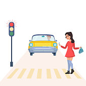 Girl see the phone and cross the road. There is red light on a traffic lights. Cars are on the street. Vector illustration.