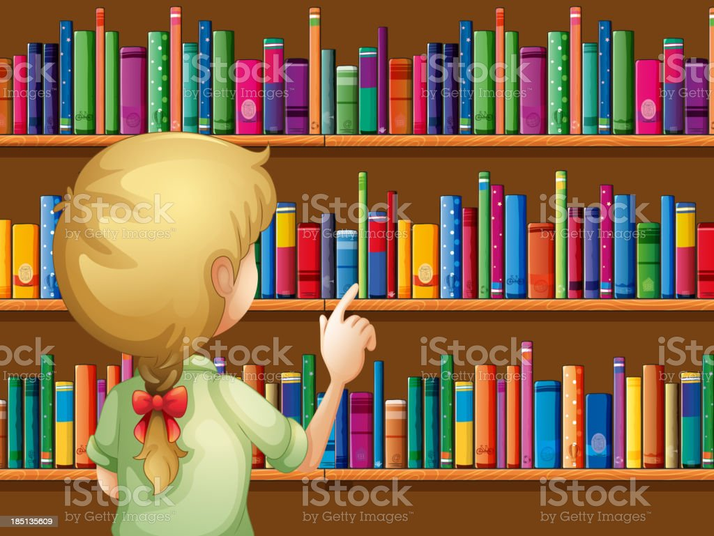 girl selecting books royalty-free girl selecting books stock vector art & more images of adult