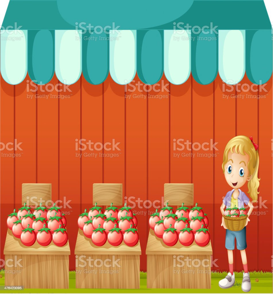 Girl selling tomatoes royalty-free stock vector art