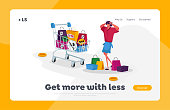 Girl Shopper in Store Landing Page Template. Woman Shopaholic with Shopping Bags. Character with Empty Pockets Frustrated about Making Lot of Useless Purchases in Mall. Cartoon Vector Illustration