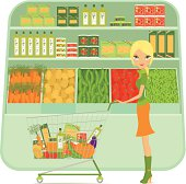 Girl shopping at supermarket with shopping cart full of grocery products, vegetables, pasta, olive oil, tomatoes sauce... Layered and groupped - more related: