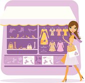 Girl shopping on a clothes, shoes and accessories stand background - layered and groupped, 300 dpi 25x25cm jpg incl.
