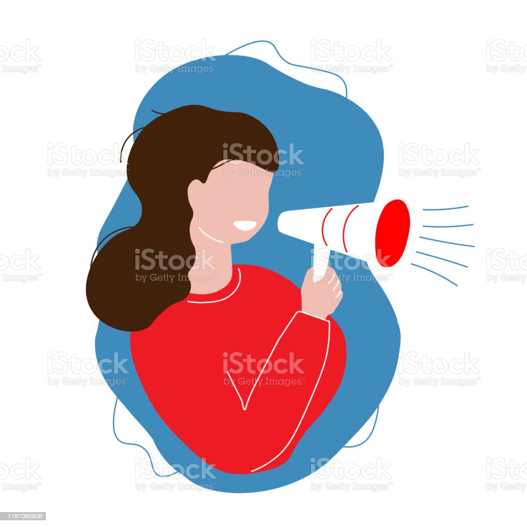 Girl shout on megaphone. Woman in red holding a megaphone on blue...