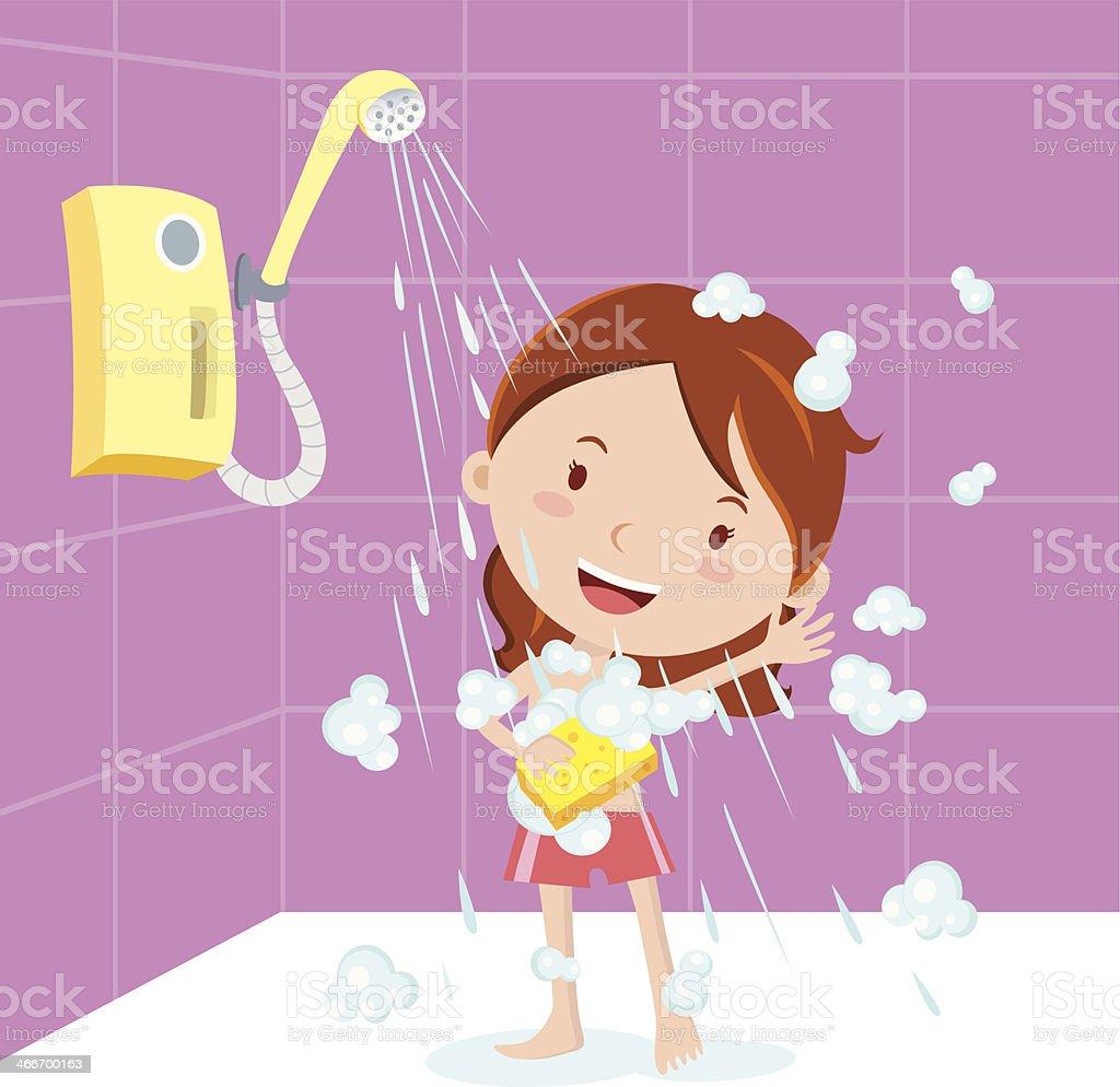 Girl shower vector art illustration