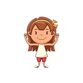 Child showing muscle, athlete, strength, power, gesture, flexing biceps, arms, cute kid, happy cartoon character, healthy lifestyle, female, vector illustration, isolated, white background